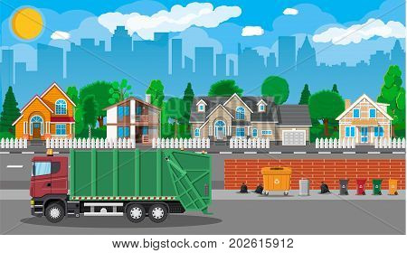 Truck for transportation garbage. Car waste disposal. Can container, bag and bucket for garbage. Recycling and utilization equipment. Suburban cityscape. Vector illustration in flat style