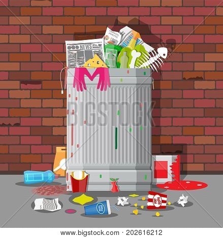 Steel garbage bin full of trash. Overflowing garbage, food, rotten fruit, papers, containers and glass. Garbage recycling and utilization equipment. Waste management Vector illustration in flat style poster