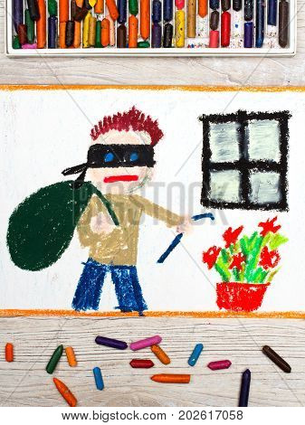 Photo of colorful drawing: Thief with mask and big bag standing next to window. Home robbery.
