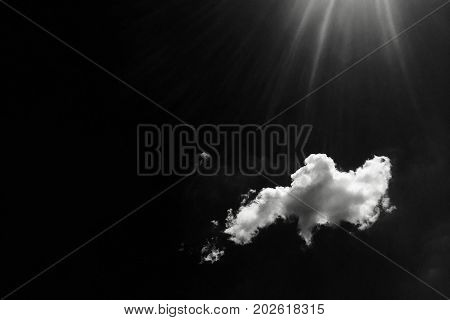 Isolated white clouds on black sky. Set of isolated clouds over black background. Design elements. White isolated clouds. Cutout extracted clouds. Black Background.