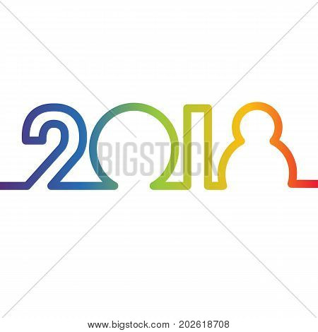 Happy New Year 2018 concept - rainbow colored digits, created by continuous line. Sign for winter holiday card or poster. Vector numbers isolated on white background.