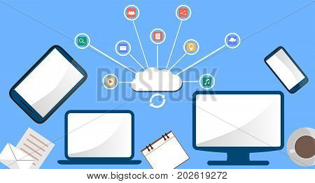 modern cloud services and Cloud Computing Elements Concept. Devices connected to the cloud with Gears. Flat Illustration.
