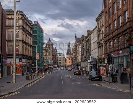GLASGOW, SCOTLAND - JULY 21: Argyle Street on July 21, 2017 in Glasgow, Scotland. Argyle Street is an important commercial street that transverses the city centre.