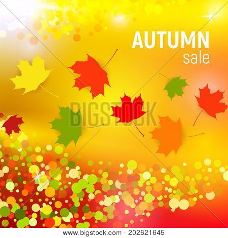 Vector autumn sale background with red, orange, green and yellow falling autumn leaves and circles on a orange background. Autumn sale background with colorful leaves. Vector illustration.