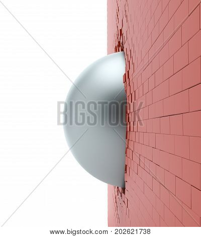 A metal ball in the hole of a brick wall. 3d illustration