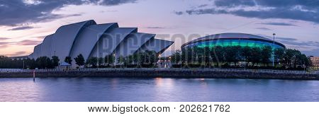 GLASGOW, SCOTLAND - JULY 21: The River Clyde with the Millennium Bridge, the SEC Armadillo and SEE Hydro on July 21, 2017 in Glasgow, Scotland. The Armadillo is Glasgow main conference space.
