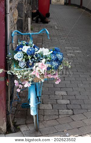 Blue bike standing with many coloured flowers