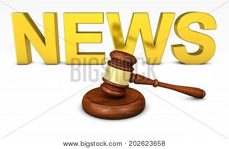 Law justice and legal news concept with a wooden judge gavel and golden news word on background 3D illustration.