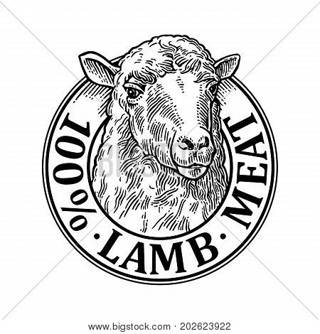 Sheep head. 100 percent lamb meat lettering. Hand drawn in a graphic style. Vintage black vector engraving illustration for label poster logotype. Isolated on white background