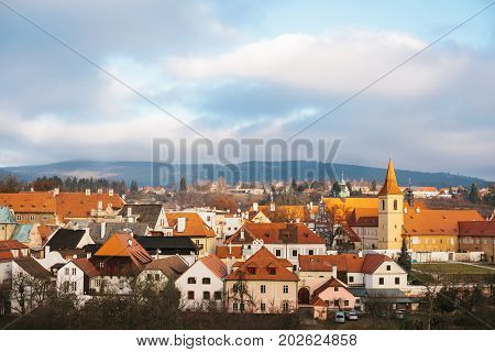 A fabulously beautiful view of the town of Cesky Krumlov in the Czech Republic. Favorite place of tourists from all over the world. One of the most beautiful unusual small cities in the world. Travel