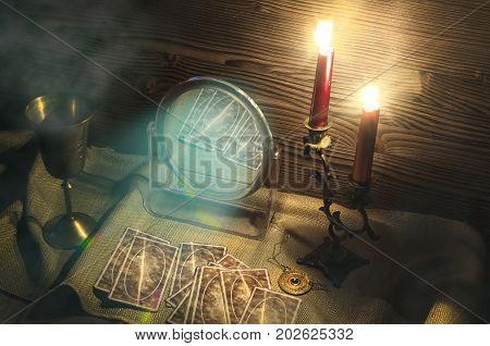 Tarot cards on fortune teller table. Call spirits.