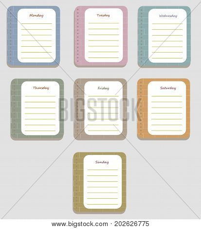 The coloful sheets of the planner for weekly planning with the names of the days of the week and brick texture. Diary.Vector illustration.