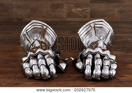 Medieval armor gloves, gloves detail of steel armor war