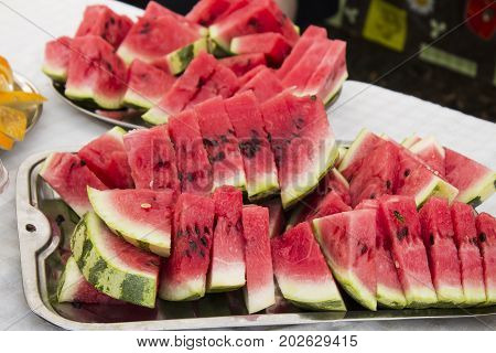 Watermelon. year-old watermelon slice of slices. space for the designer Pieces of sweet red watermelon / fresh watermelon