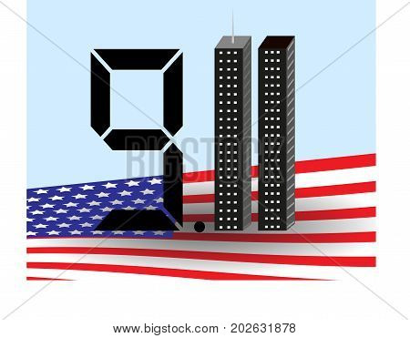 The twin towers . the eleventh of September . America USA . 9.11  Vector illustration