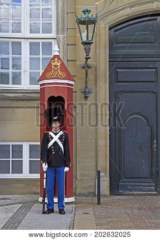 Copenhagen Denmark - April 26 2017: Royal Guard in Amalienborg Castle Copenhagen in Denmark