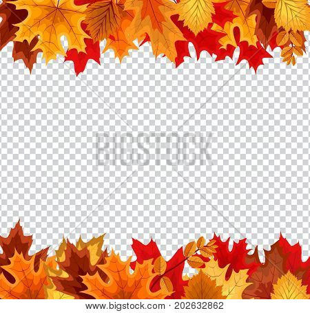 Abstract Vector Illustration Background with Falling Autumn Leaves on Transparent Background. EPS10