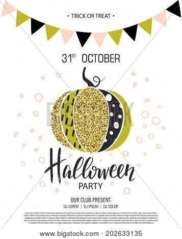 Happy Halloween. Invitation to party with cute glamorous sparkling pumpkin. Vector illustration. Design for greeting cards banners postersads coupons promotional material