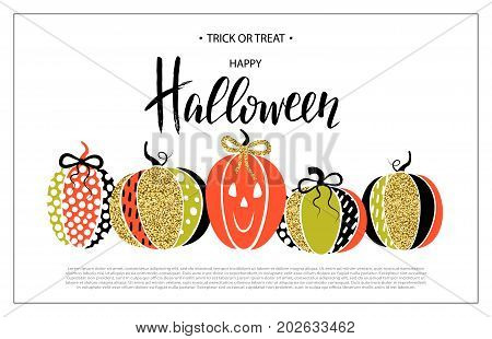 Happy Halloween. Poster with cute glamorous sparkling pumpkin. Vector illustration. Design for greeting cards invitation banners ads coupons promotional material