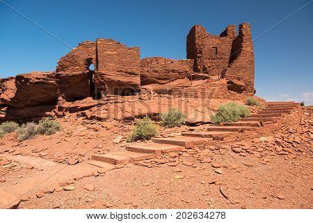 Sinaqua Ruins of the Wukoki pueblo in Wupatki National Monument Arizona USA