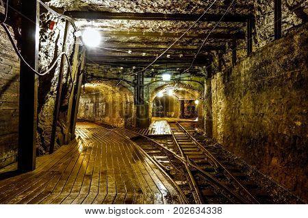 Vintage unused mining tunnel interior view with tracks