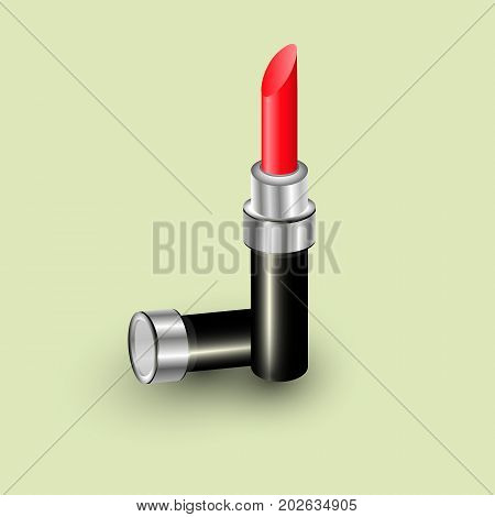 Realistic makeup cosmetics vector illustration. Lipstick pink sparkling tube pomade applicator. Decorative facial cosmetics products beauty fashion makeup collection