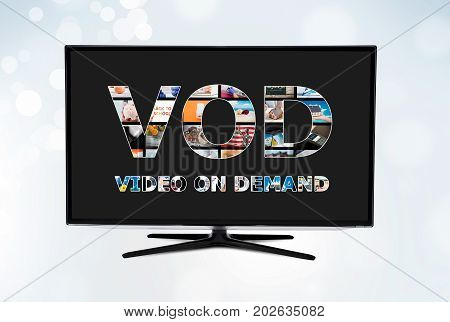 Video on demand VOD service on smart TV concept
