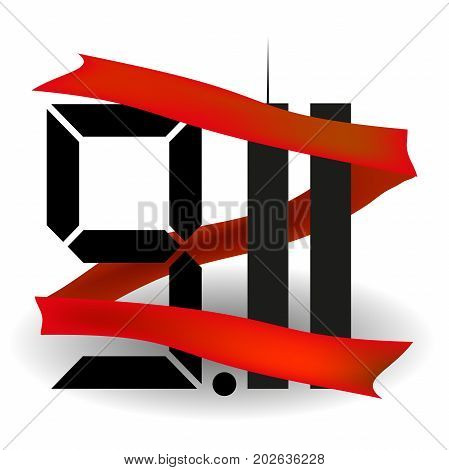 Red ribbon . The twin towers . the eleventh of September . USA . 911  Vector illustration