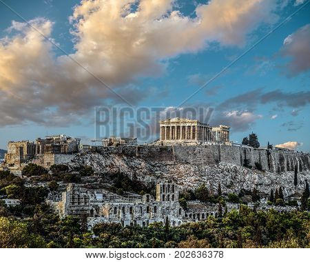 Parthenon Acropolis of Athens at late afternoon