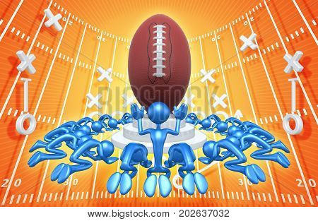 A Group Of The Original 3D Characters Illustration Worshiping A Football