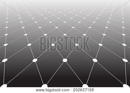 Diminishing perspective view. Lines and dots texture. Diamonds pattern. Vector art.