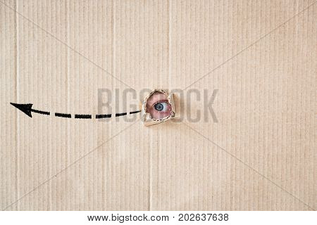 Surprised Person Looking Through Hole Of Cardboard