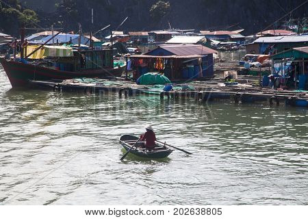 traditonal vietnamese boats and floating village near Cat Ba island, Lan Ha bay, the southestern part of Ha Lng Bay, Vietnam