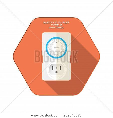 Vector isolated icon of light gray timer with outlet type B and mechanical blue ring switch on the red hexagon background with shadow for use in USA and Canada.