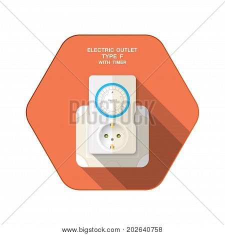 Vector isolated icon of electric socket type F with mechanical timer insert in outlet on the red hexagon background with shadow for use in Europe.
