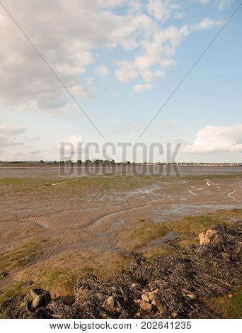 Black Water Mudflats Groove Water Tide Out Dock Moored Boats In Distance