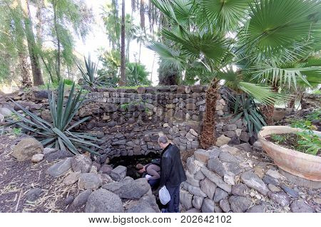 Magdala Israel. - February 17.2017. Russian spiritual mission monastic metochion of St. Mary Magdalene in Magdala. Glaznoy source with healing water for the healing of eye diseases.