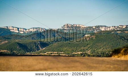 View of the Vercors mountains in the department of 'Drome' in the Auvergne-Rhône-Alpes region near the city of Valence
