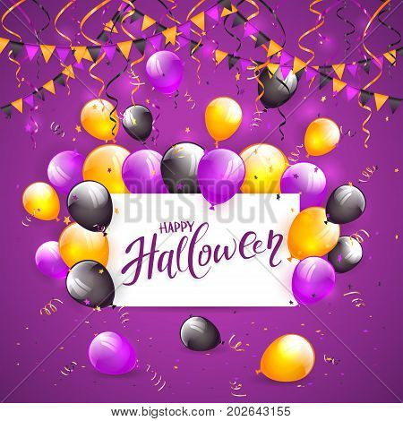Card with lettering Happy Halloween on violet background with multicolored balloons, pennants, streamers and confetti, illustration.