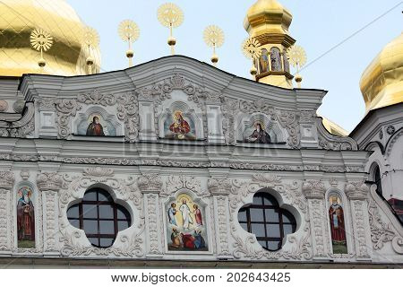 KIEV, UKRAINE - MAY 3, 2011: This is fragment of facade of the Assumption Cathedral of the Kiev-Pechersk Lavra.