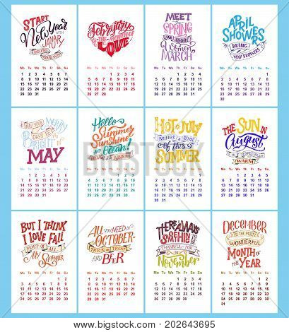 Vector calendar for months 2 0 1 8. Hand drawn lettering quotes for calendar design vector illustration