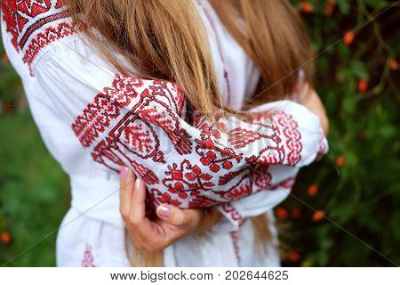 Beautiful slavonic girl with long blond hair in white and red embroidered costume.Traditional clothes of Ukrainian region.