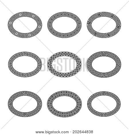 Ethnic set collection. Antique geometric borders in black color on the white background. Greek oval frames with brushes. Vector illustration