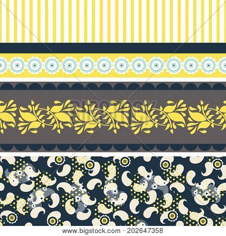 Folk floral blue and yellow seamless vector pattern. Textile surface print design with horizontal border decor paisley and stripes.