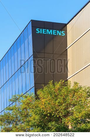 Wallisellen, Switzerland - 3 September, 2017: partial view of the office building of the Siemens Schweiz AG company. Siemens is a German company headquartered in Berlin and Munich, being the largest industrial manufacturing company in Europe.