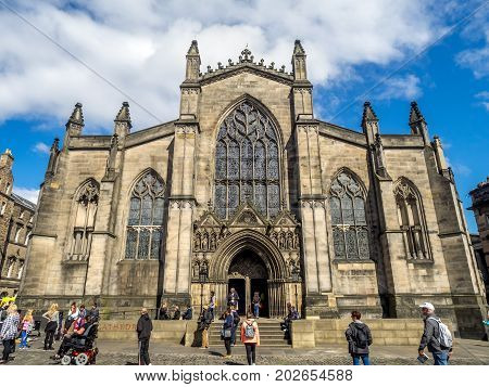 EDINBURGH, SCOTLAND - JULY 26: Looking down the Royal Mile in the Old Town towards St. Giles Cathedral on July 26, 2017 in Edinburgh Scotland. St. Giles is the main Kirk of Scotland.