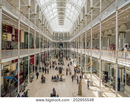 EDINBURGH, SCOTLAND - JULY 27: The main display gallery the National Museum of Scotland on July 27, 2017 in Edinburgh Scotland. The National Museum is a landmark attraction in Scotland.