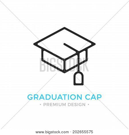 Graduation cap icon. Education, learning, graduation logo. Premium design. Vector thin line icon isolated on white background