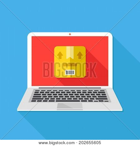 Laptop with parcel on screen. Delivery, shipping, postal service concepts. Front view. Modern long shadow design. Flat design vector illustration