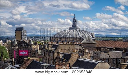 EDINBURGH, SCOTLAND - JULY 27: View from the roof terrace of the National Museum of Scotland on July 27, 2017 in Edinburgh Scotland. The National Museum is a landmark attraction in Scotland.